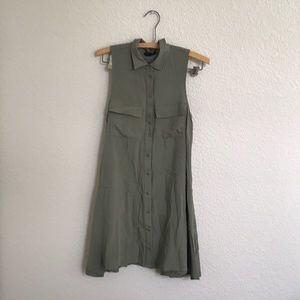 Army green button up/collared dress